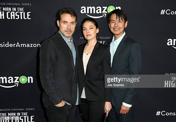 Actors Rufus Sewell Alexa Davalos and Joel de la Fuente attend the Emmy FYC screening of the Amazon Original Series 'The Man In The High Castle' at...