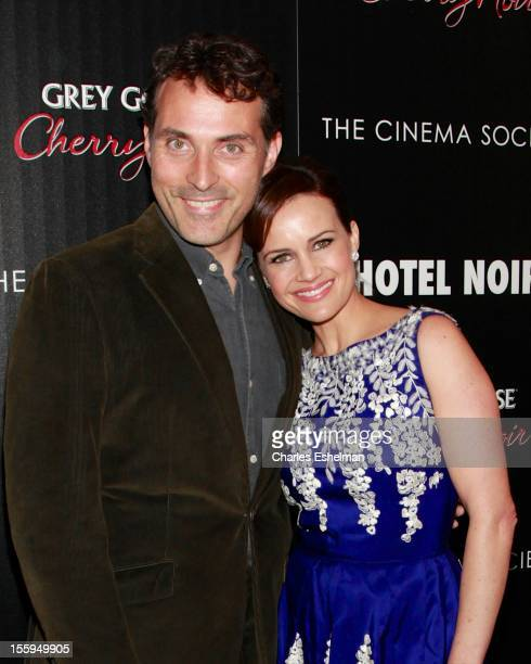 Actors Rufus Sewell and Carla Gugino attend Gato Negro Films The Cinema Society screening of Hotel Noir at the Crosby Street Hotel on November 9 2012...