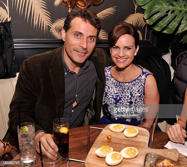 Actors Rufus Sewell and Carla Gugino attend the after party for a screening of Hotel Noir hosted by The Cinema Society and Gato Negro Films at No 8...