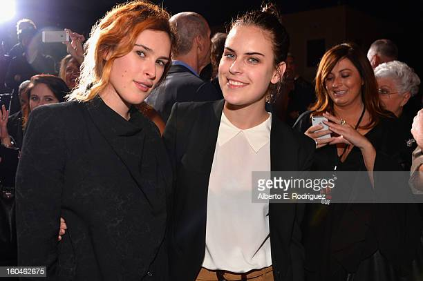 Actors Rumer Willis and Tallulah Willis attend the dedication and unveiling of a new soundstage mural celebrating 25 years of Die Hard at Fox Studio...
