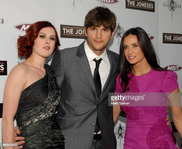 Actors Rumer Willis Ashton Kutcher and Demi Moore attend the The Joneses Los Angeles Premiere at ArcLight Cinemas on April 8 2010 in Hollywood...