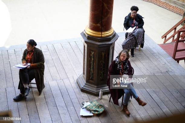 """Actors run through an early rehearsal of """"A Midsummer Night's Dream"""" following the re-opening for rehearsals and visitor tours of The Globe Theatre..."""