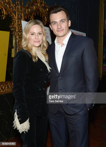 Actors Rupert Friend and Aimee Mullins arrive to the Los Angeles premiere of IFC Films' 'The Death Of Stalin' held at The Theatre at Ace Hotel on...