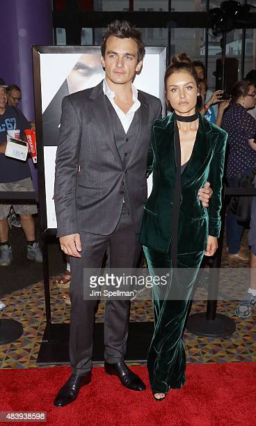 "Actors Rupert Friend and Hannah Ware attend the ""Hitman Agent 47"" New York premiere at AMC Empire 25 theater on August 13, 2015 in New York City."