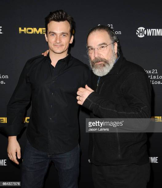 Actors Rupert Friend and Mandy Patinkin attend the ATAS Emmy screening of Showtime's 'Homeland' at NeueHouse Hollywood on April 3 2017 in Los Angeles...