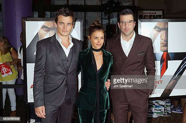"Actors Rupert Friend, Hannah Ware and Zachary Quinto attend the ""Hitman Agent 47"" New York premiere at AMC Empire 25 theater on August 13, 2015 in..."