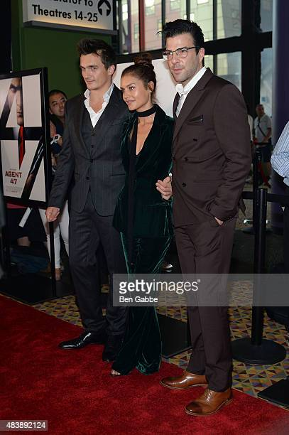 "Actors Rupert Friend, Hannah Ware and Zachary Quinto attend the New York premiere of ""Hitman Agent 47"" at AMC Empire 25 theater on August 13, 2015 in..."