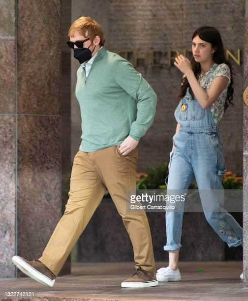"""Actors Rupert Grint and Nell Tiger Free are seen walking to the set of Apple TV+ streaming television series """"Servant"""" Season 3 on June 09, 2021 in..."""