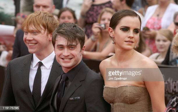 Actors Rupert Grint Daniel Radcliffe and Emma Watson attend the premiere of 'Harry Potter and the Deathly Hallows Part 2' at Avery Fisher Hall...