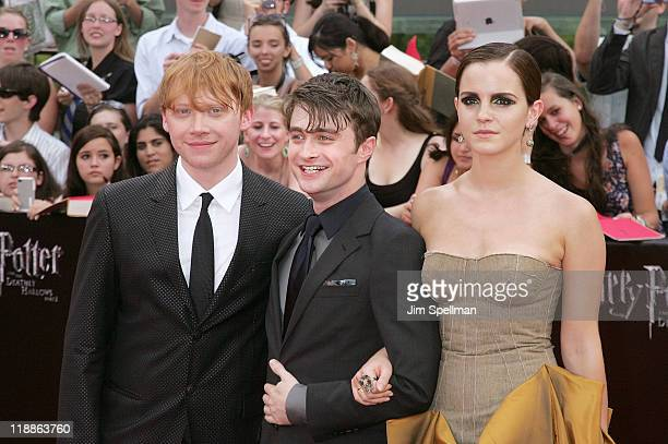 "Actors Rupert Grint, Daniel Radcliffe and Emma Watson attends the premiere of ""Harry Potter and the Deathly Hallows - Part 2"" at Avery Fisher Hall,..."