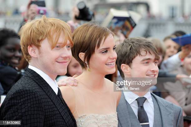 Actors Rupert Grint Emma Watson and Daniel Radcliffe attend the World Premiere of 'Harry Potter And The Deathly Hallows Part 2' in Trafalgar Square...