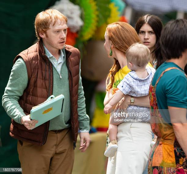 """Actors Rupert Grint, Lauren Ambrose and Nell Tiger Free are seen filming scenes on set of Apple TV+ streaming television series """"Servant"""" Season 3 on..."""