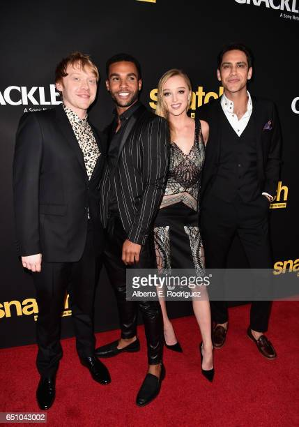 Actors Rupert Grint Lucien Laviscount Phoebe Dynevor and Luke Pasqualino attend the premiere screening of Cackle's 'Snatch' the series at Arclight...