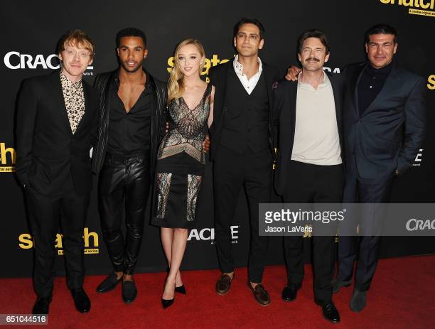 Actors Rupert Grint Lucien Laviscount Phoebe Dynevor Luke Pasqualino Dougray Scott and Tamer Hassan attend the premiere of 'Snatch' at Arclight...