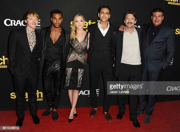 Actors Rupert Grint Lucien Laviscount Phoebe Dynevor Luke Pasqualino Dougray Scott and Tamer Hassan attend the premiere of Snatch at Arclight Cinemas...