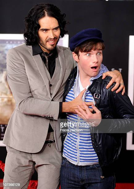 Actors Russell Brand and Chris Colfer arrive at the premiere of Touchstone Pictures and Miramax Films' 'The Tempest' at the El Capitan Theatre on...