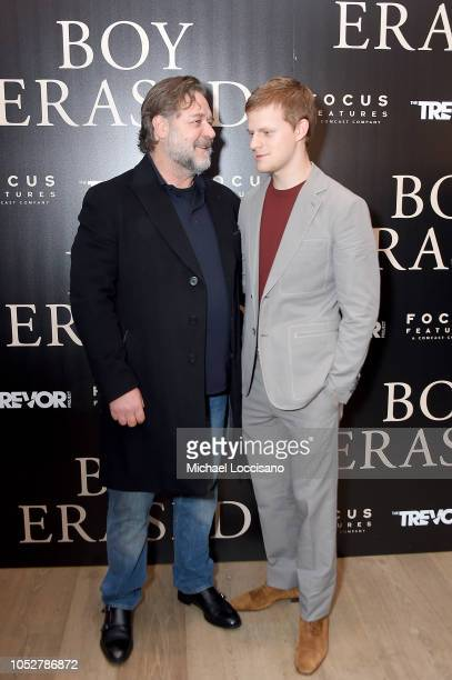 Actors Russell Crowe and Lucas Hedges attend the New York screening of 'Boy Erased' at the Whitby Hotel on October 22 2018 in New York City