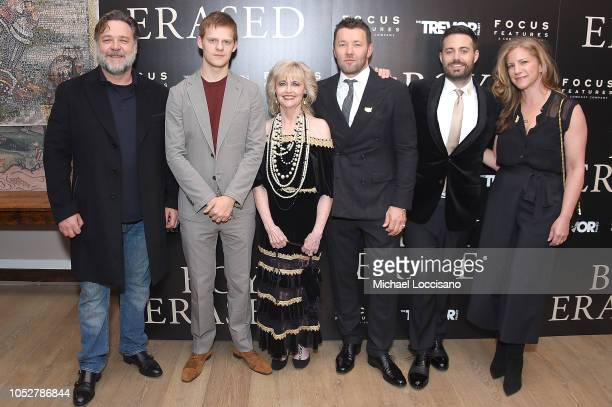 Actors Russell Crowe and Lucas Hedges film subject Martha Conley director and actor Joel Edgerton film subject and memoir author Garrard Conley and...