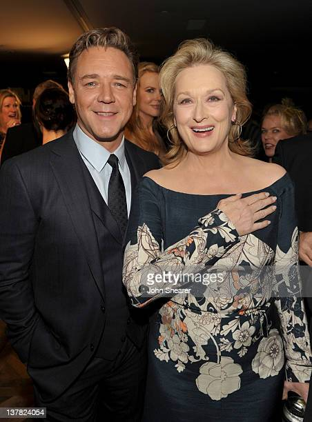 Actors Russell Crowe and Meryl Streep arrive at the Australian Academy Of Cinema And Television Arts International Awards Ceremony at Soho House on...