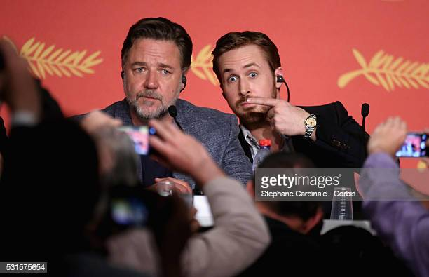 Actors Russell Crowe and Ryan Gosling attend The Nice Guys Press Conference during the 69th annual Cannes Film Festival at the Palais des Festivals...