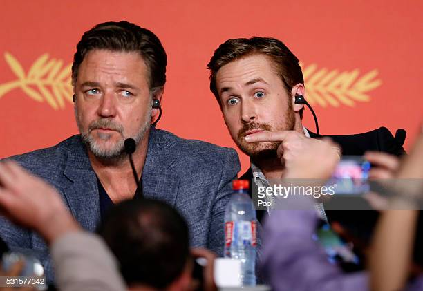 Actors Russell Crowe and Ryan Gosling attend 'The Nice Guys' Press Conference during the 69th annual Cannes Film Festival at the Palais des Festivals...