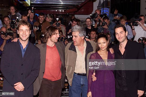 Actors Russell Crowe, Tom Cruise, talk show host Jay Leno, actress Thandie Newton & her husband Oliver Parker at the premiere of the movie Mission...