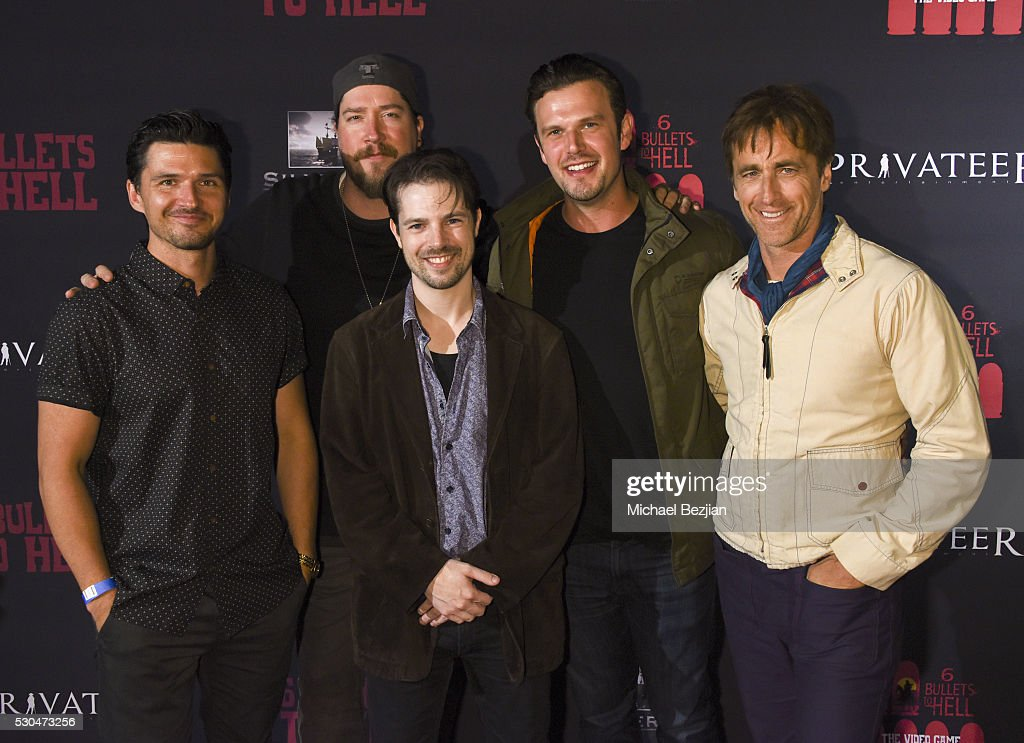 Actors Russell Cummings, Tanner Beard, Ken Luckey, and Crispian Belfrage arrive at the '6 Bullets To Hell' Mobile Game Launch Party on May 10, 2016 in Los Angeles, California.