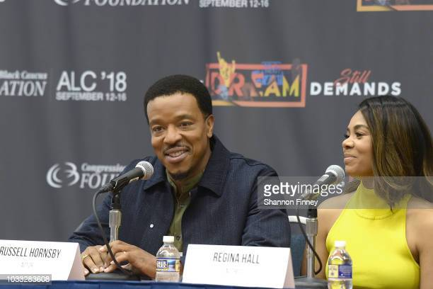 Actors Russell Hornsby and Regina Hall discuss their upcoming motion picture 'The Hate You Give' during the 'Diversity in the Media Industry State of...