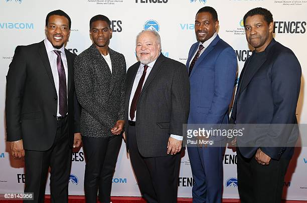Actors Russell Hornsby Jovan Adepo Stephen McKinley Henderson Mykelti Williamson and Denzel Washington arrive at the Fences Washington DC Premiere at...