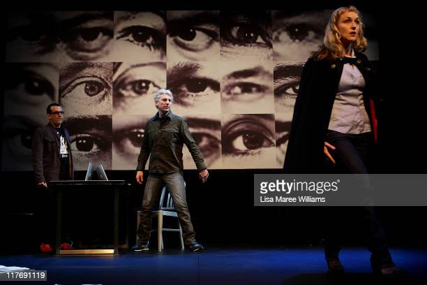 "Actor's Russell Smith, Darren Weller and Caroline Craig perform a scene from ""Stainless Steel Rat"" a story about Julian Assange at the York Theatre..."