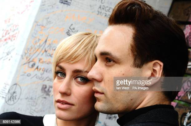Actors Ruta Gedmint as Astrid Kirchherr and Nick Blood as Stuart Sutcliffe stars in the play Backbeat at the Duke Of York's Theatre during a...