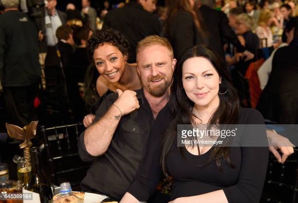 Actors Ruth Negga Ben Foster and Laura Prepon attend the 2017 Film Independent Spirit Awards at the Santa Monica Pier on February 25 2017 in Santa...