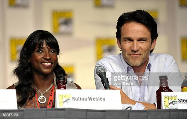 Actors Rutina Wesley and Stephen Moyer speak during True Blood QA at ComicCon 2009 held at San Diego Convention Center on July 25 2009 in San Diego...