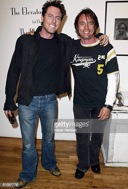 Actors Ryan Alosio and James Wilder pose at the Heike Jarick Fashion Show presented by Blackbook Magazine at The Elevator Gallery on July 8 2004...