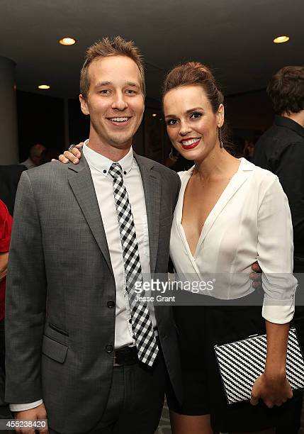 Actors Ryan Carlberg and Erin Cahill attend the '108 Stitches' Screening Party Screening Party held at Harmony Gold Theatre on September 10 2014 in...