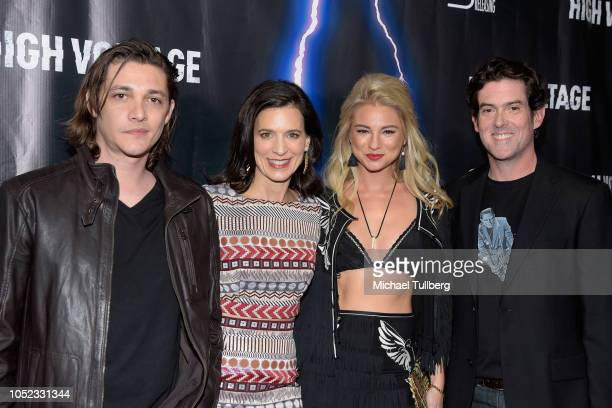 Actors Ryan Donowho Perrey Reeves and Allie Gonino and director Alex Keledjian attend the premiere of 'High Voltage' at TCL Chinese 6 Theatres on...