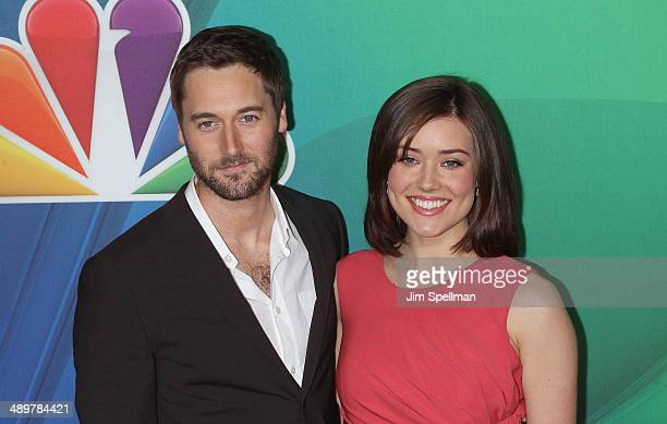 Actors Ryan Eggold and Megan Boone from 'The Blacklist' attend the 2014 NBC Upfront Presentation at The Jacob K Javits Convention Center on May 12...