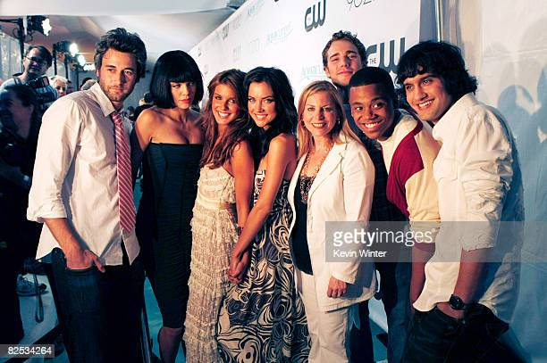 Actors Ryan Eggold AnnaLynne McCord Shenae Grimes Jessica Stroup CW Network President Dawn Ostroff actors Dustin Milligan Tristan Wilds and Michael...
