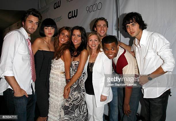 Actors Ryan Eggold, AnnaLynne McCord, Shenae Grimes, Jessica Stroup, CW Network President Dawn Ostroff, actors Dustin Milligan, Tristan Wilds and...