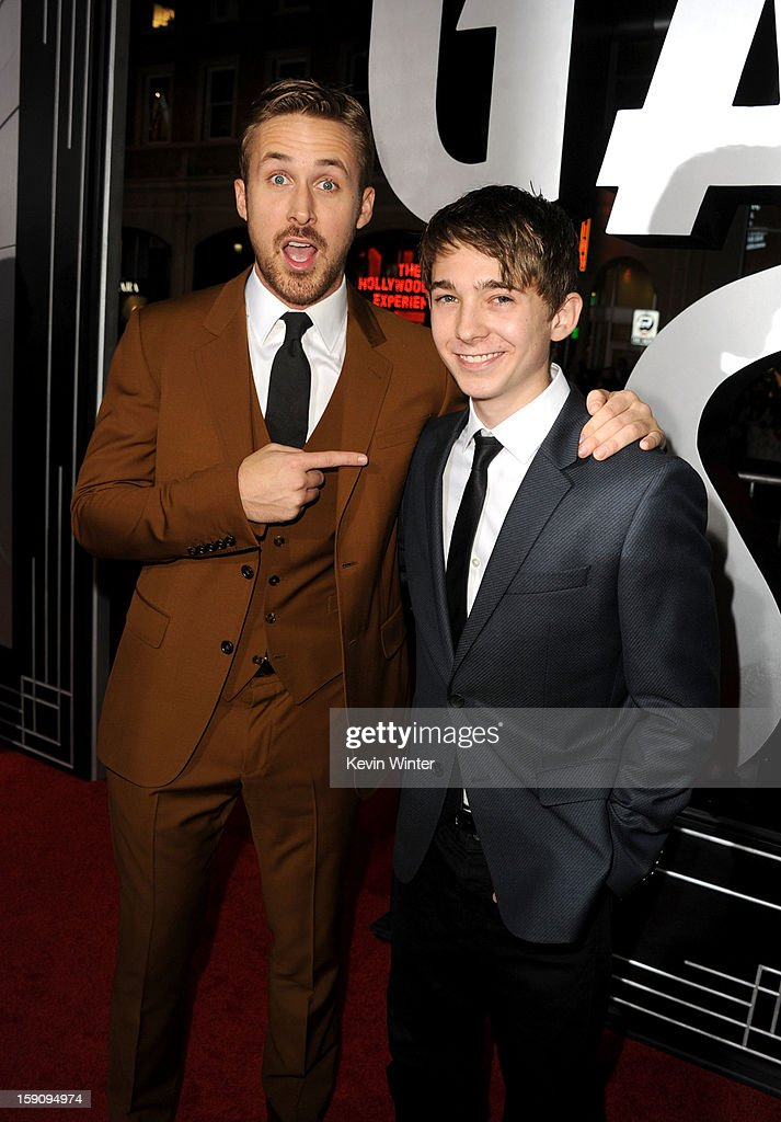 Actors Ryan Gosling and Austin Abrams arrive at Warner Bros. Pictures' 'Gangster Squad' premiere at Grauman's Chinese Theatre on January 7, 2013 in Hollywood, California.