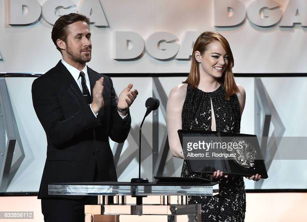 Actors Ryan Gosling and Emma Stone onstage during the 69th Annual Directors Guild of America Awards at The Beverly Hilton Hotel on February 4 2017 in...