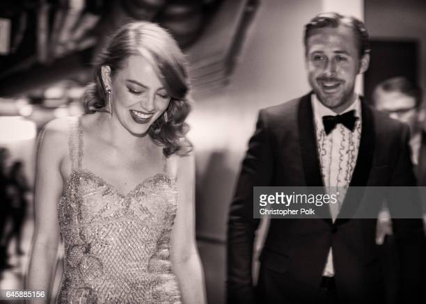 Actors Ryan Gosling and Emma Stone pose backstage during the 89th Annual Academy Awards at Hollywood Highland Center on February 26 2017 in Hollywood...