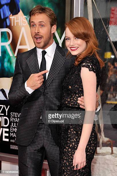 Actors Ryan Gosling and Emma Stone pose on the red carpet at the 'Crazy Stupid Love' World Premiere at the Ziegfeld Theater on July 19 2011 in New...