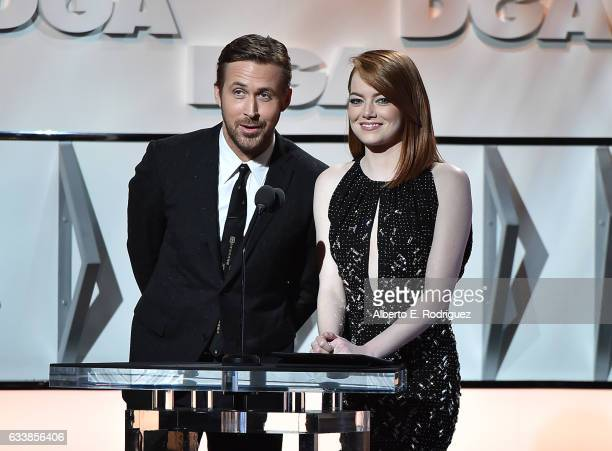 Actors Ryan Gosling and Emma Stone speak onstage during the 69th Annual Directors Guild of America Awards at The Beverly Hilton Hotel on February 4...