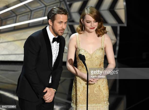Actors Ryan Gosling and Emma Stone speak onstage during the 89th Annual Academy Awards at Hollywood Highland Center on February 26 2017 in Hollywood...