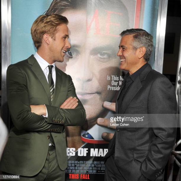 """Actors Ryan Gosling and George Clooney arrive at the """"Ides Of March"""" Los Angeles Premiere held at AMPAS Samuel Goldwyn Theater on September 27, 2011..."""