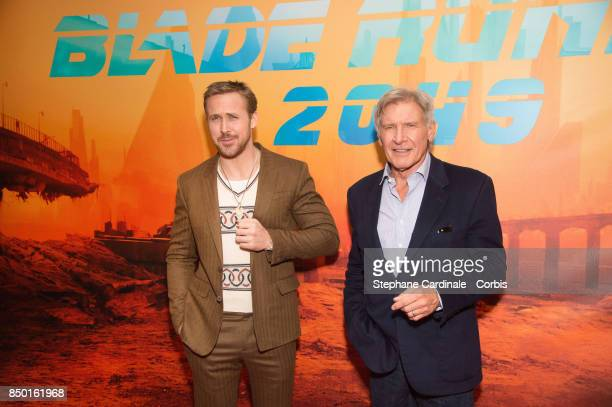 Actors Ryan Gosling and Harrison Ford attend the 'Blade Runner 2049' Photocall at Hotel Le Bristol on September 20 2017 in Paris France