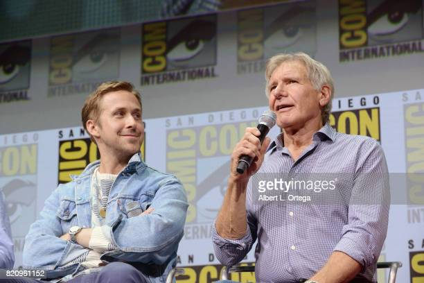Actors Ryan Gosling and Harrison Ford attend the Warner Bros Pictures 'Blade Runner 2049' Presentation during ComicCon International 2017 at San...
