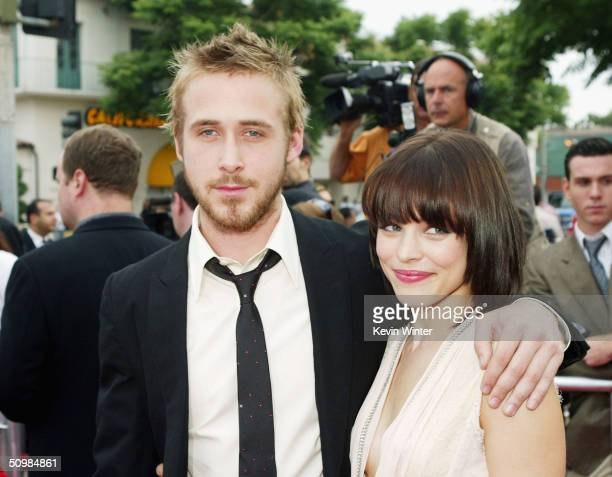 Actors Ryan Gosling and Rachel McAdams arrive at the premiere of New Lines' The Notebook on June 21 2004 at the Village Theatre in Los Angeles...