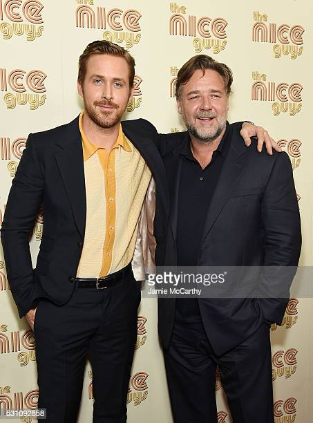 Actors Ryan Gosling and Russell Crowe attend The Nice Guys New York Screening at Metrograph on May 12 2016 in New York City